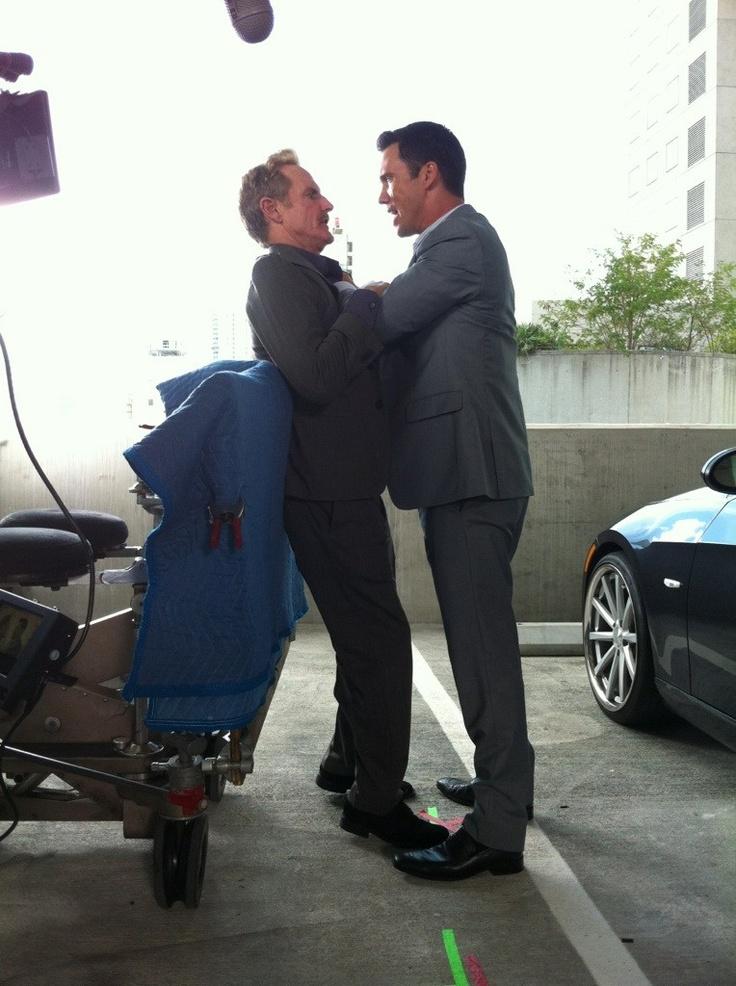 Jeffrey Donovan gets in Jere Burns's face.