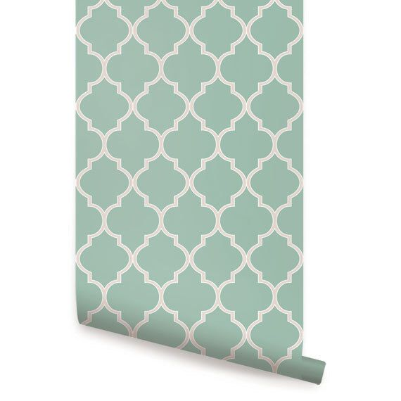 Moroccan Mint Peel & Stick Fabric Wallpaper Repositionable by AccentuWall on Etsy https://www.etsy.com/listing/154034113/moroccan-mint-peel-stick-fabric