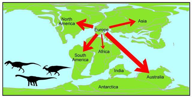 """Un articolo pubblicato sulla rivista """"Journal of Biogeography"""" descrive una ricerca che ha portato a ricreare un possibile quadro delle migrazioni dei dinosauri durante l'era Mesozoica concludendo che ce ne fu in particolare una molto importante dall'odierna Europa nel Cretaceo, tra 146 e 100 milioni di anni fa. Questi risultati sono stati ottenuti applicando per la prima volta la teoria delle reti alla paleontologia. Leggi i dettagli nell'articolo!"""