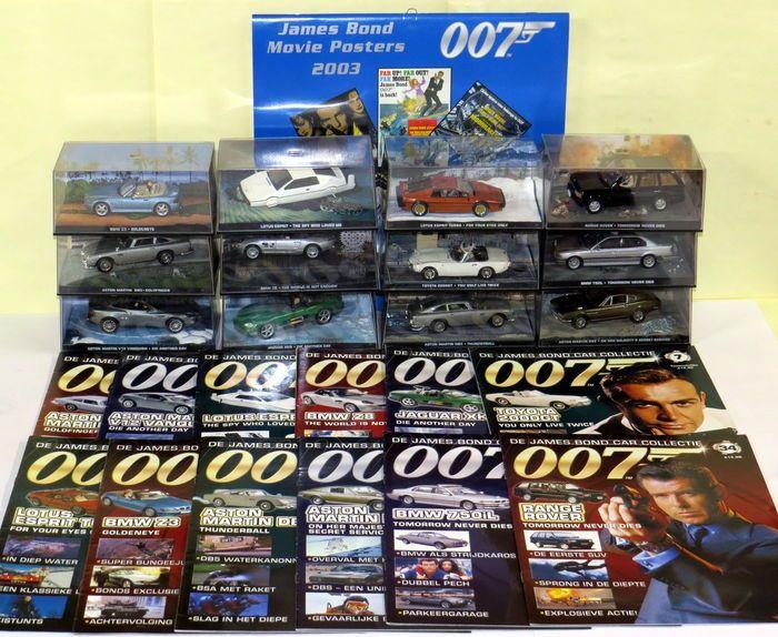 James Bond auto Collection - Modelauto's - 1/43 - 2006-2008-12 x Modelauto's en tijdschriften  James Bond film poster kalender 2003  12 auto's in vakken plus bijpassende tijdschriften - allemaal met originele 3D landschap. Plus 12 matching tijdschriften in het Nederlands.Plus een nooit gebruikte kalender voor het jaar 2003 met foto's van James Bond-MoviepostersDe auto's:1. Aston Martin DB5 - Goldfinger - Catalogus nr 4316612. A. M. V12 Vanquish - Die another Day3. lotus Esprit - Spy who…