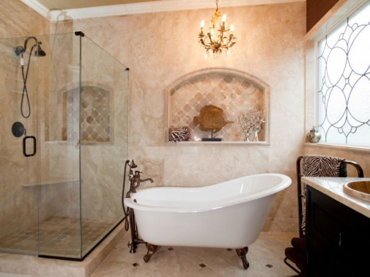 Beautiful Bathroom Design And Decoration Using 4 Foot Bathtub : Top Notch Image Of Bathroom Decoration Using Black Clawfoot Bathroom Including Unframed Glass Shower Door And Oval White 4 Foot Bathtub