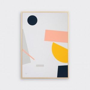 Flotsam by Tom Pigeon.  One of 3 inter-connecting screenprints Open edition,signed A2 Printed in coral, grey, navy and yellow on speckled 200gsm paper Hand-pulled using waterbased inks Sold unframed