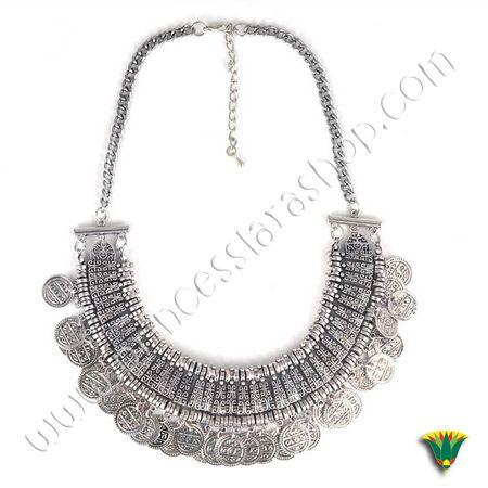Collar de alieación metálica con monedas de estilo étnico beduino egipcio. Tamaño aprox.: 25 cm http://www.princesslarashop.com/tienda.php?dir=90#