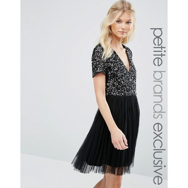 Maya Petite V Neck Mini Tulle Dress With Tonal Delicate Sequins (£76) ❤ liked on Polyvore featuring dresses, black, petite, v neck cocktail dress, v neck dress, tulle cocktail dress, sequin dresses and mini dress