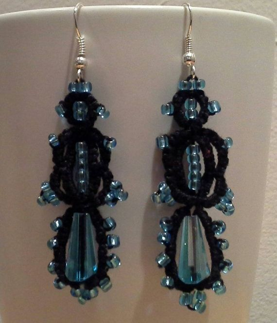 Hand tatted beaded earrings - striking black and sapphire blue
