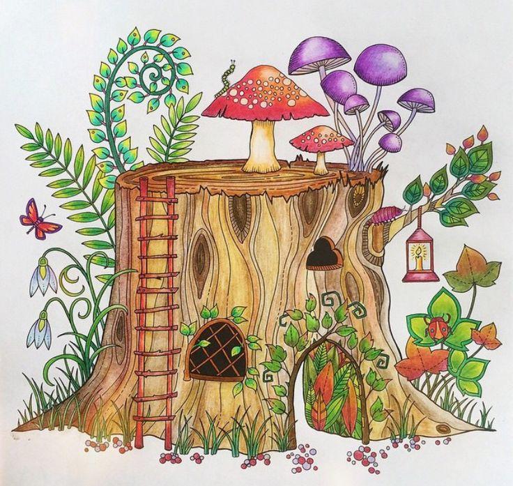 Tree Trunk Enchanted Forest Tronco Floresta Encantada Johanna Basford Coloring BookTree