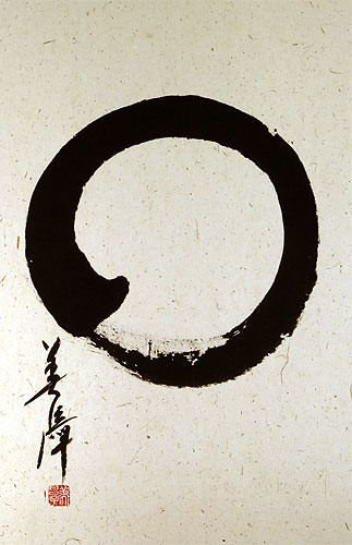Japanese Enso Calligraphy Wall Scroll close up view