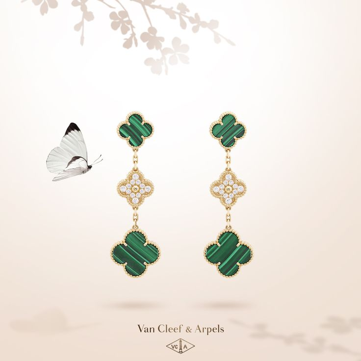 Yellow gold, diamonds and malachite form a perfect harmony to embellish the Van Cleef & Arpels icon of luck. Dive into the deep green hue of malachite with Van Cleef & Arpels new Magic Alhambra earrings.  #VCAalhambra