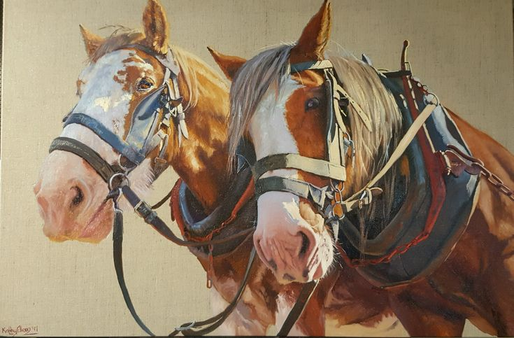 'Hello down there'. Oil on linen.  Original artwork by Kathy Ellem. #drafthorsefineart