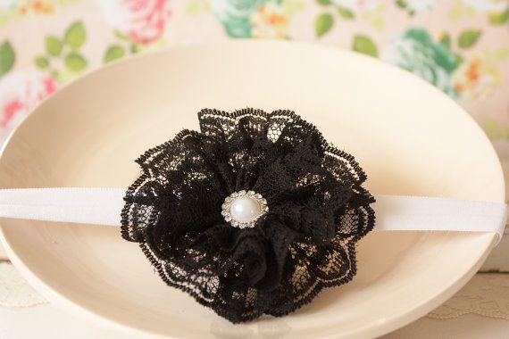 Black Lace Headband Lace Flower Headband by BeautyfromashesUSA