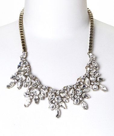 Gold & Crystal Glam Bib Necklace by Sorta Southern Boutique #zulily #zulilyfinds