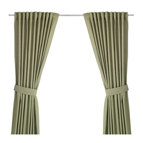 "IKEA - INGERT, Curtains with tie-backs, 1 pair, 57x118 "", , The curtains lower the general light level and provide privacy by preventing people outside from seeing directly into the room.</t><t>The curtains can be used on a curtain rod or a curtain track.</t><t>The heading tape makes it easy for you to create pleats using RIKTIG curtain hooks.</t><t>You can hang the curtains on a curtain rod through the hidden tabs or with rings and hooks."