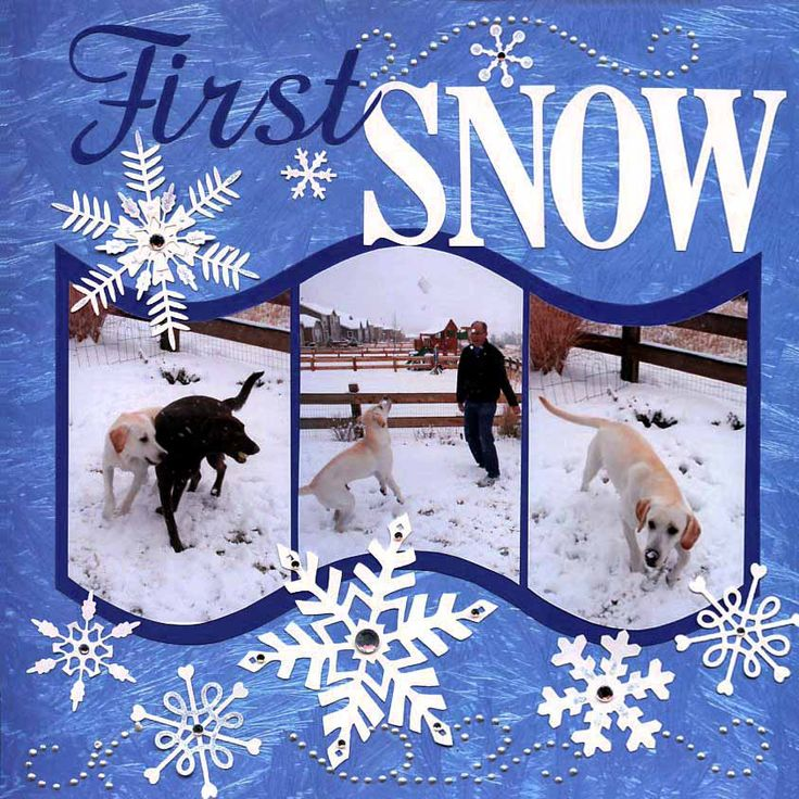 Snow scrapbooking page layout - like the way the pictures are cut into a wave  winter