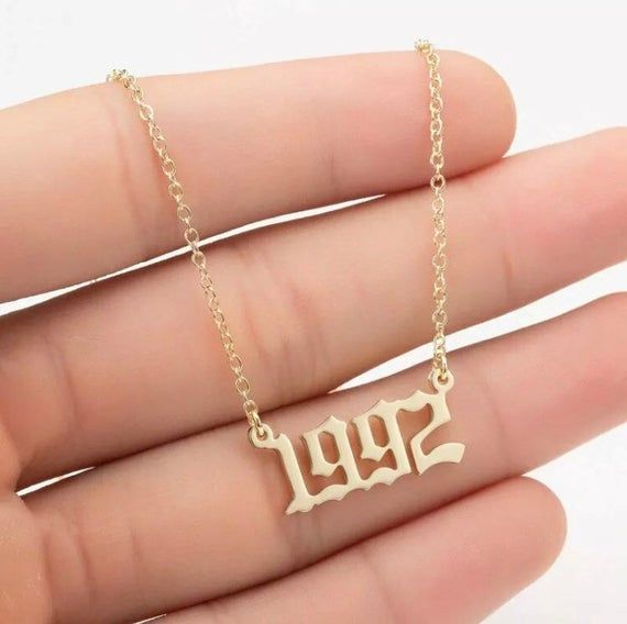 Birth Year Necklaces Gold1981 1985 1987 1990 2000 Priced Etsy Womens Necklaces Number Necklace Chains Jewelry