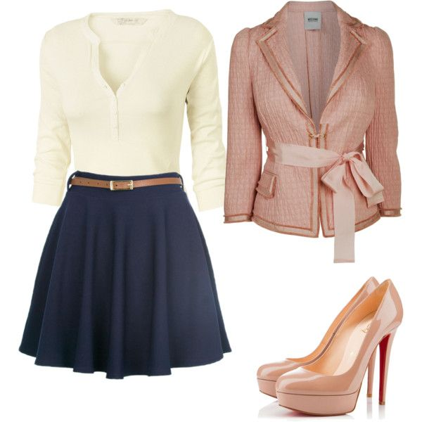 Love the shirt skirt and belt not crazy bout the sweater and pumps but you could pear flats with this and that'd be cute!