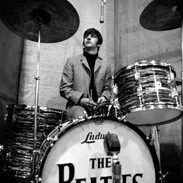 Ringo behind drum kit during a recording session for Beatles For Sale