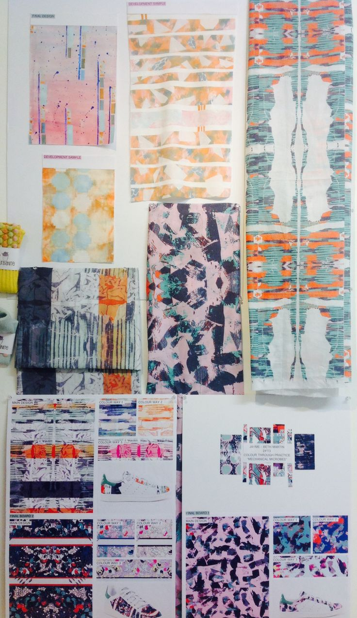 """Final presentation """"mechanical microbes"""" fabrics through digital print and heat transfer with disperse dyes"""