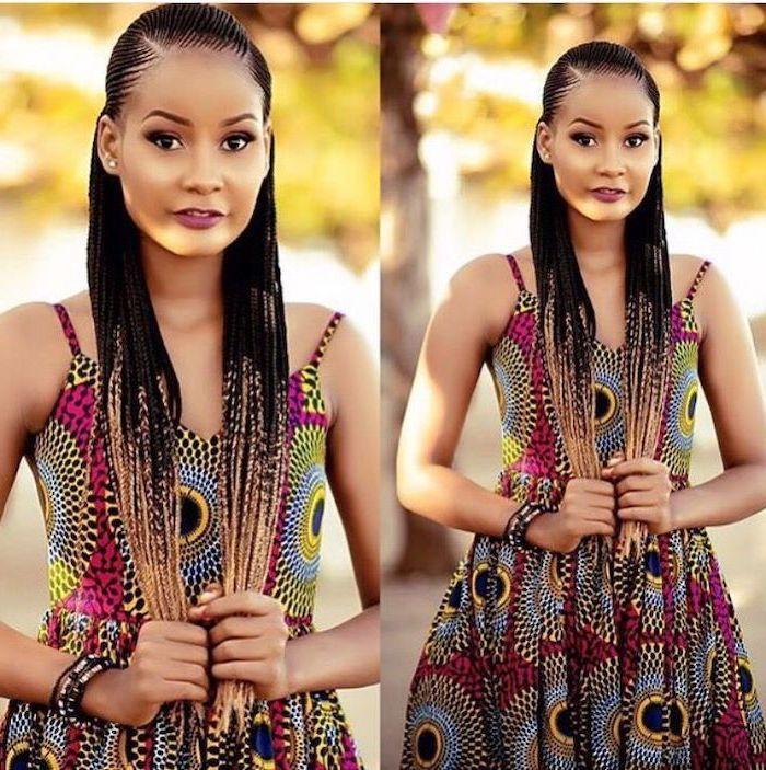 Straight Back Braids Woman Wearing African Print Dress Black And Blonde Ombre Hair Ghana Braid Styles African Hairstyles Cornrow Hairstyles