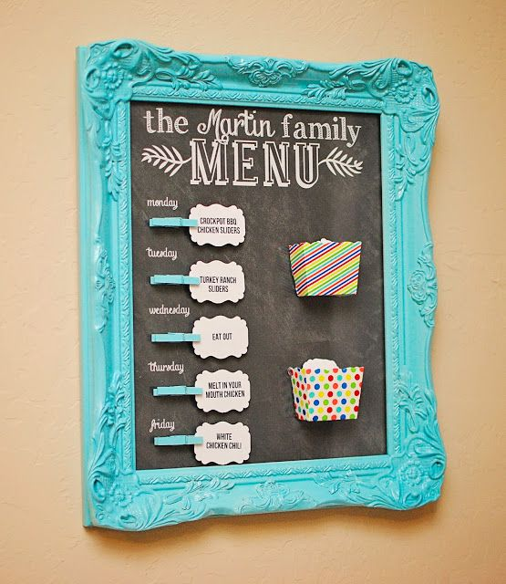 Like this idea, but using a $1 store pan for a magnet board instead of the cute, expensive chalkboard
