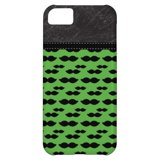Retro Handlebar Mustache on Green Background Cover For iPhone 5C
