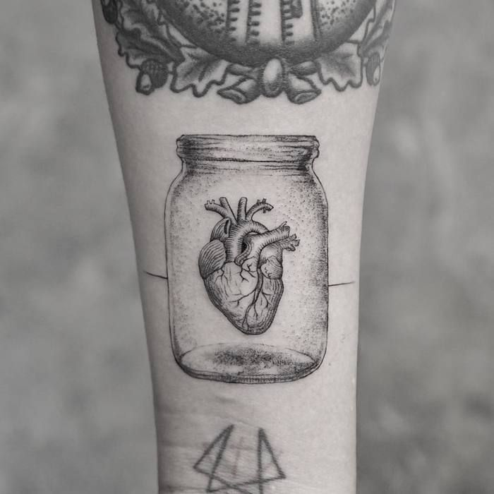 Anatomical Heart Inside a Jar by mr.k_tattoo
