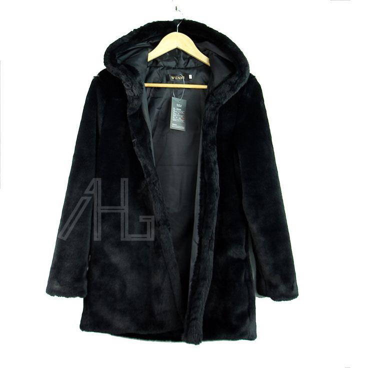 2015 Black Womens Winter Warm Outerwear Ladies Parka Faux Fur Hooded Jacket Coat