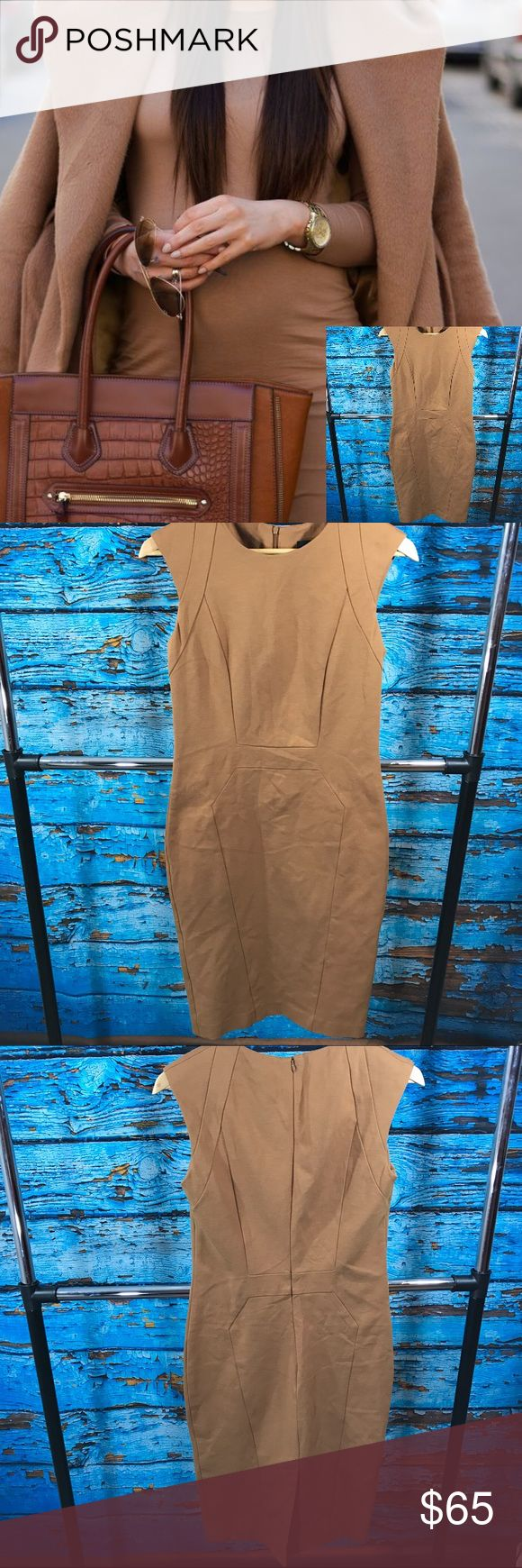 Cue Australia Camel 🐫 Body Con Dress Beautifully structured. Excellent used condition. Heavy material. True to size. Moderately stretchy. Cue  Dresses Midi