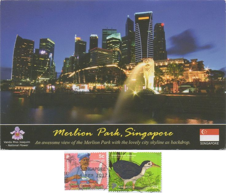 SGP-1386 - Arrived: 2017.09.11   ---   Merlion Park, is a Singapore landmark and major tourist attraction, located at One Fullerton, Singapore, near the Central Business District (CBD). The Merlion is a mythical creature with a lion's head and the body of a fish that is widely used as a mascot and national personification of Singapore. Two Merlion statues are located at the park. The original Merlion structure measures 8.6 meters tall and spouts water from its mouth.