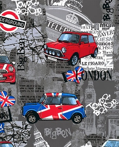 Mini Cooper Madness  - Charcoal Grey - London Bridge  -  Benartex Fabric - Novelty Fabric. $8.25, via Etsy.