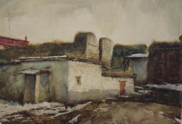 """Zhao Haoyi , """"EVENING GLOW""""  cm 54×79 acquerello su carta"""