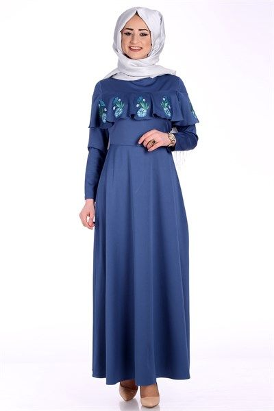 Tesettür Fırfırı Nakışlı Elbise 5014 -Gece Mavi Elbise Modelleri - Kirazgiyim