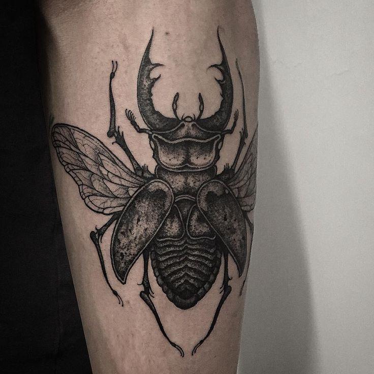 """Stag beetle on forearm. Thanks again Ashley!"" Thomas Bates"