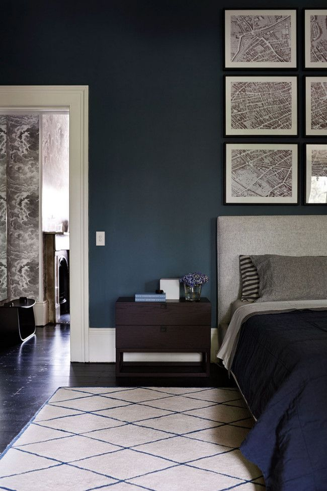 Dark blue bedroom - very elegant - could this be done with lower ceilings?