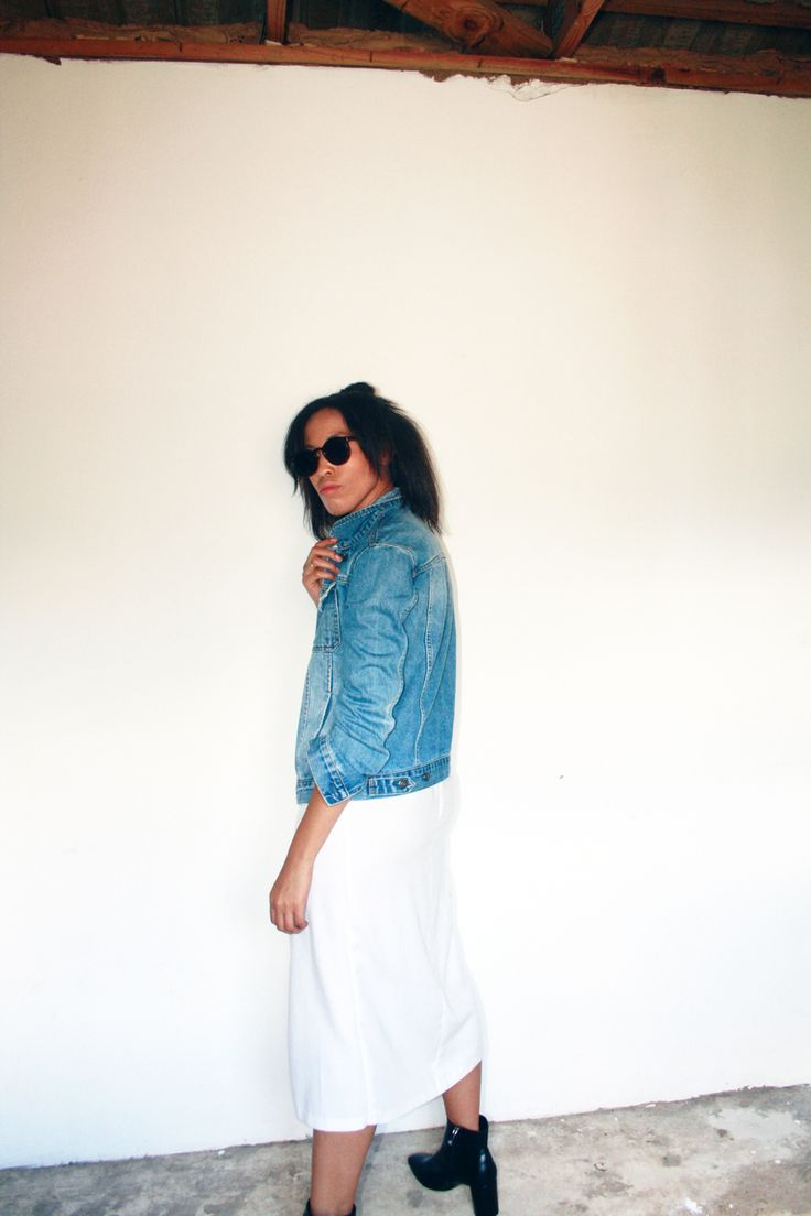 What To Wear Today # 2 // ankle boots + skirt + leotard / bodysuit +denim jacket