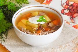 Суп грибной со свининой