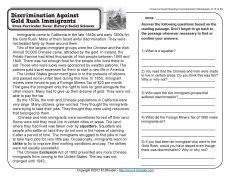 Worksheets 11th Grade Reading Comprehension Worksheets 17 best images about westward expansion on pinterest american discrimination against gold rush immigrants
