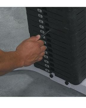 Body Solid 150-Pound Weight Stack for use with Powerline PHG1000 Home Gym. Body Solid In Home Lifetime Warranty that covers everything. Forever. Period.