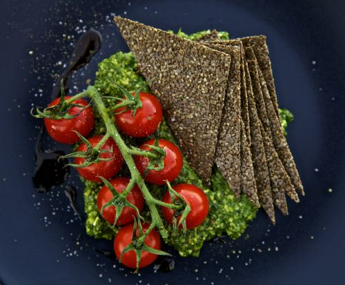 Fennel Chia Seed Crackers with Rocket (Arugula) Pesto