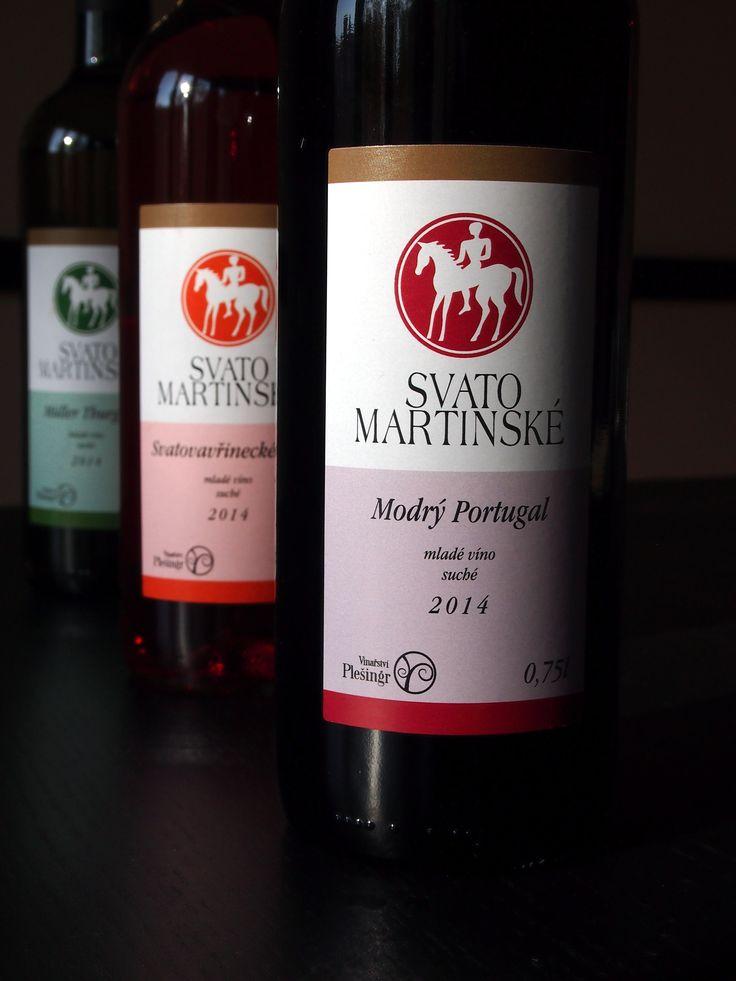 Svatomartinská vína odrudy Müller Thurgau, Svatovavřinecké rosé a Modrý Portugal z vinařství Plešingr.