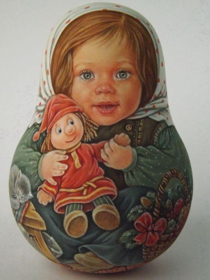 Author's 1 kind russian roly poly nesting matryoshkas dolls Artist Usachova   eBay