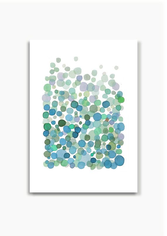 Blue green Bubbles blue greenish dots watercolor print giclee watercolor painting abstract painting. papersize: A4 8 x 11 (Also available on