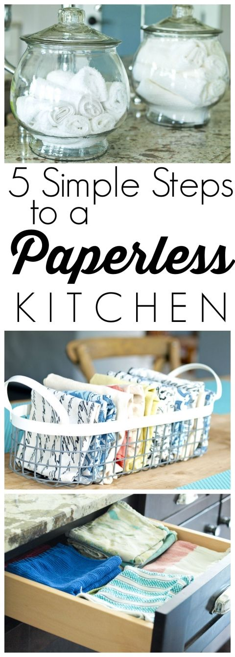 Instead of paper towels: the above picture of small white cloths in glass jars. I don't think I would use white - maybe a dark color or pattern that wouldn't show stains. Could this work? (would have to keep them conveniently out like this and also have a laundry bin in the kitchen) I also like her basket for napkins and the way she has them folded.