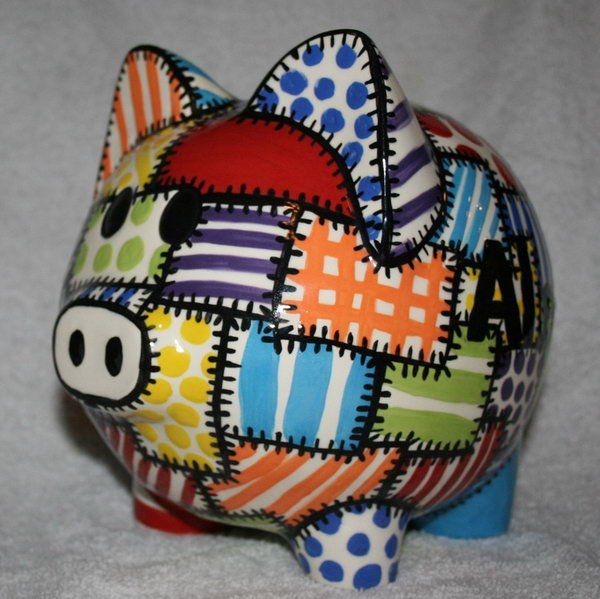 Piggy Bank with Quilted Colors. A great way to introduce the concept of saving and spending to your little ones.