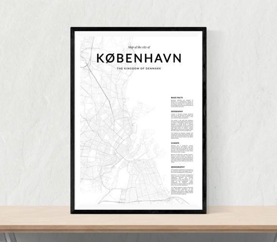 Copenhagen map print City map of Copenhagen par LionartPrints