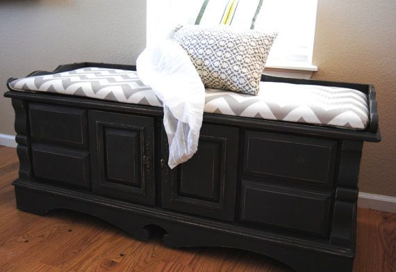 Hand Painted Black Cedar Chest and Bench by JoyfulFunk on Etsy, $295.00