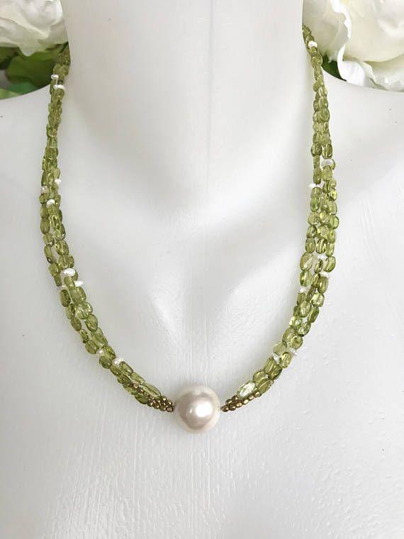 Peridot Necklace Multi strand necklace Shell pearl Peridot