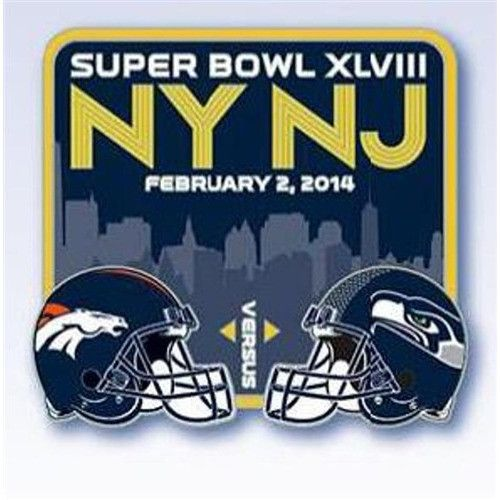 Super Bowl XLVIII 48 2014 NFL Match Up Helmet Collectible Pin - Broncos v Seahawks
