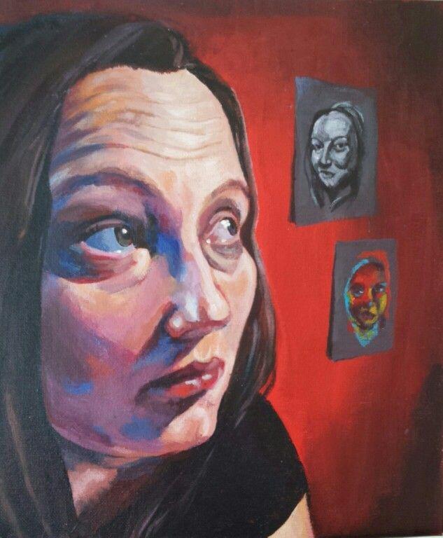 Self portrait acrylic on canvas board @Pastelesta Art www.pastelesta.co.uk