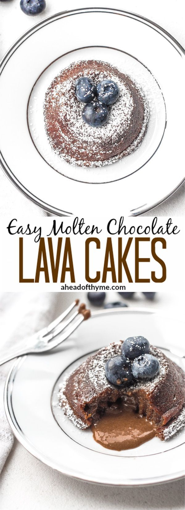 Easy Molten Chocolate Lava Cakes: You don't always have to skip dessert! Treat yourself and indulge in easy to make, rich and gooey mini molten chocolate lava cakes | aheadofthyme.com