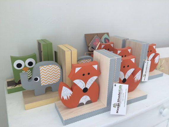 Fox Bookends, Orange and Gray, Woodland Nursery, Woodland Kids Decor, Wood Bookends, Children's Bookends, Fox Nursery, Forest Themed Nursery